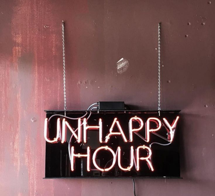 ♛ Light Up Neon Hanging Sign | Unhappy Happy Hour Neons | Lights | Store Signs | Bar Culture
