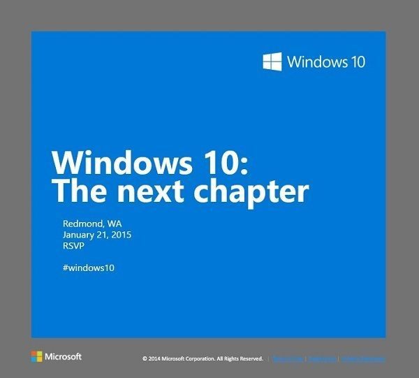 """January 21st event is titled """"Windows 10: The next chapter""""."""
