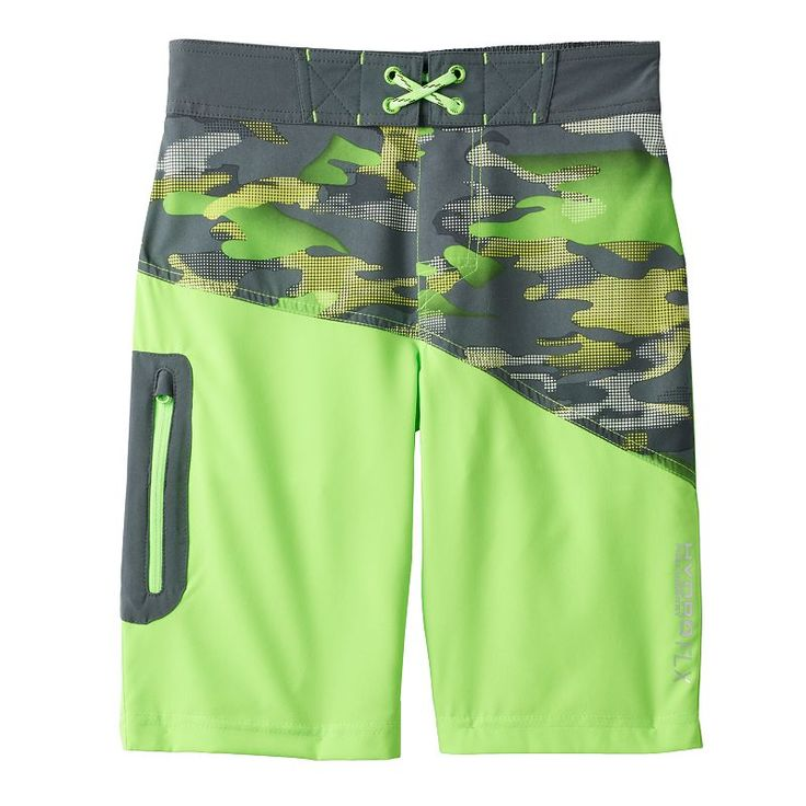 Boys 8-20 Free Country Camouflage Board Shorts, Boy's, Size: L(14/16), Brt Green
