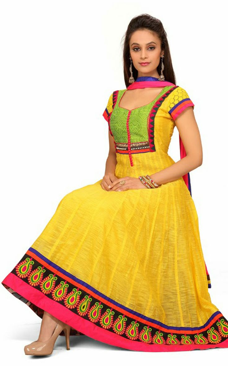YELLOW CHANDERI COTTON ANARKALI SALWAR KAMEEZ - DIF 29712