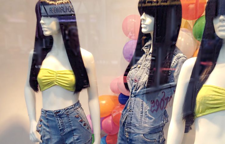 MM | VM and the transformation from products to emotions.  The mannequins are ready!   #holi #festival of #colours #window #display #vm #visualmerchandising #denim #jeans #cleopatra #wigs #colourful #visual #merchandising #detail #manneqins #thesilentdialogue Marko Margeta | Visual Merchandising