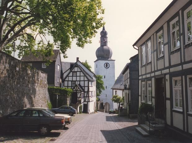 Arnsberg, Germany ~ View towards the clock tower church in Arnsberg, a town in the Sauerland region, south of the Ruhr.