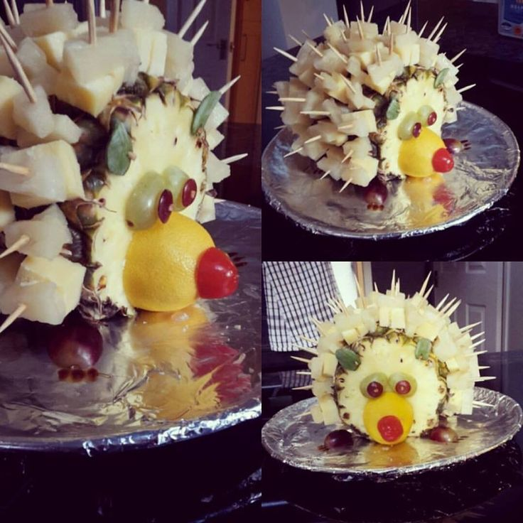 Simple and effective afternoon tea idea . Pineapple and cheese hedgehog. Great for child party.