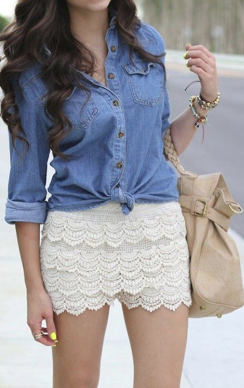 Denim shirt with layered white lace shorts / skirt