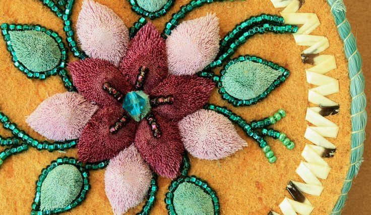 Flower beads on caribou tuft box