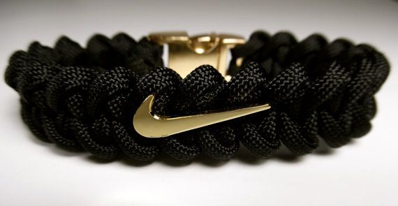 NIKE Swoosh Bracelet with a Metal (Gold Finish) Fastener by ParacordLinks