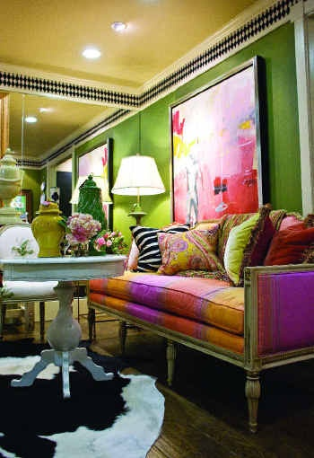 Look at all these fabulous colors!! Apple green, yellows, tangerine, pinks...love them all!  And the black and white ceiling trim!