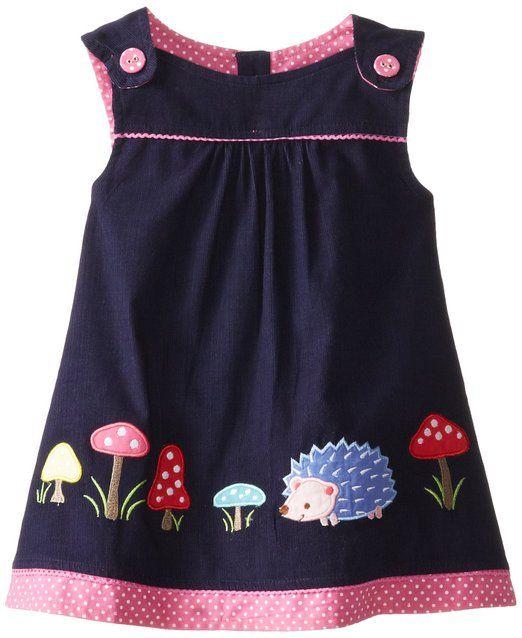 JoJo Maman Bebe Baby-Girls Infant Hedgehog Pinafore Dress, Navy, 6-12 Months