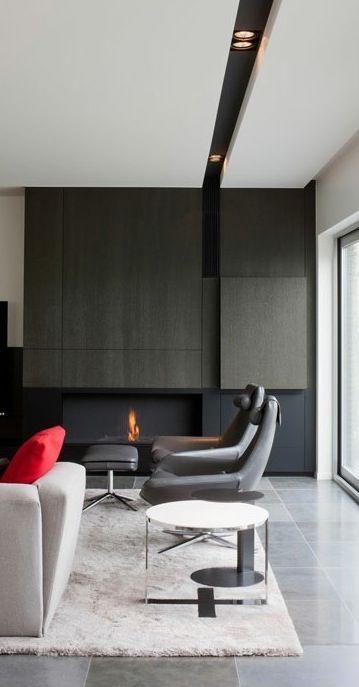 J'adore les lumières encastrées dans une section noire du plafond | Meta Interiors