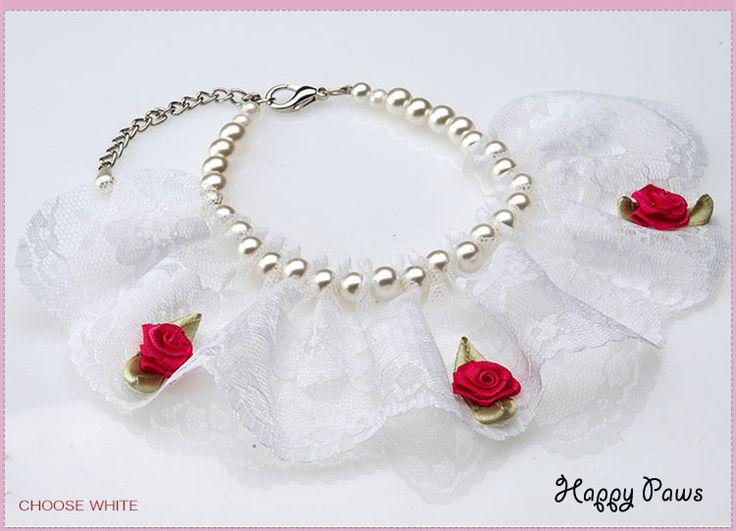 """Жемчужное ожерелье ошейник для собак и кошек """"Кружева"""""""