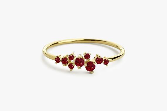 14k Petite Yellow Gold Round Genuine Ruby Stud Earrings
