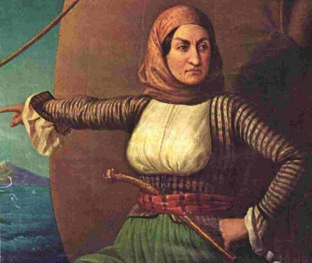Laskarina Bouboulina was a Greek naval commander and revolutionary captain who fought in the successful Greek War of Independence against the Ottomans. In May, 1771, Laskarina was born during her mother's visit to a Constantinople prison. The baby girl was the daughter of a Greek naval captain who had been incarcerated and separated from his pregnant wife during a failed coup against the Ottoman Empire .