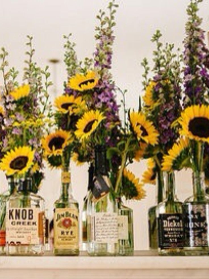 Great idea empty liquor bottles.