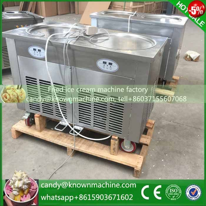 Flat two pan fried ice cream machine set degree ship from shanghai to different country big seaport