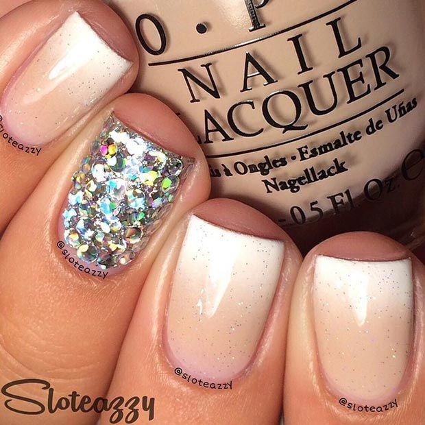 Sparkly Ombre Nude Nail Design for Short Nails