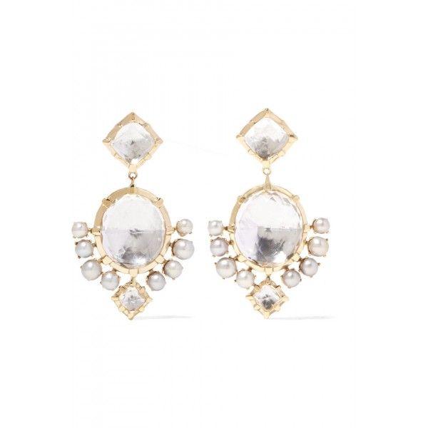 Larkspur & Hawk Bella Compass gold-dipped, quartz and pearl earrings, Women's