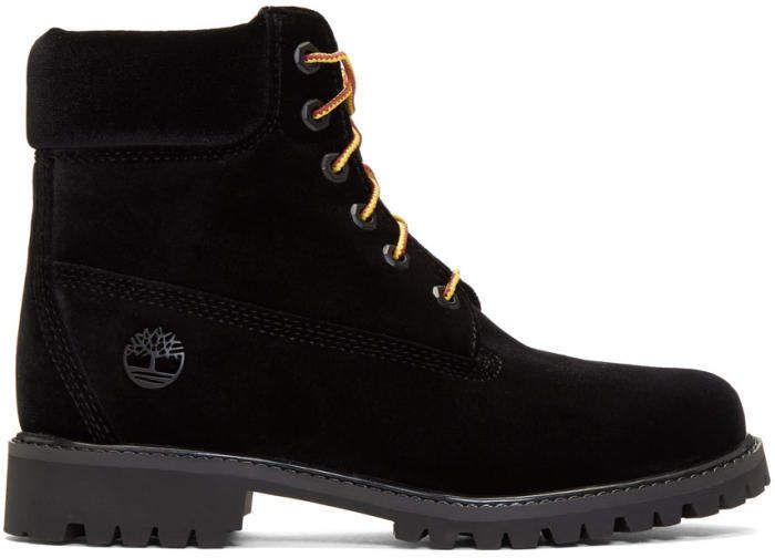 Off-White Black Timberland Edition Velvet Boots