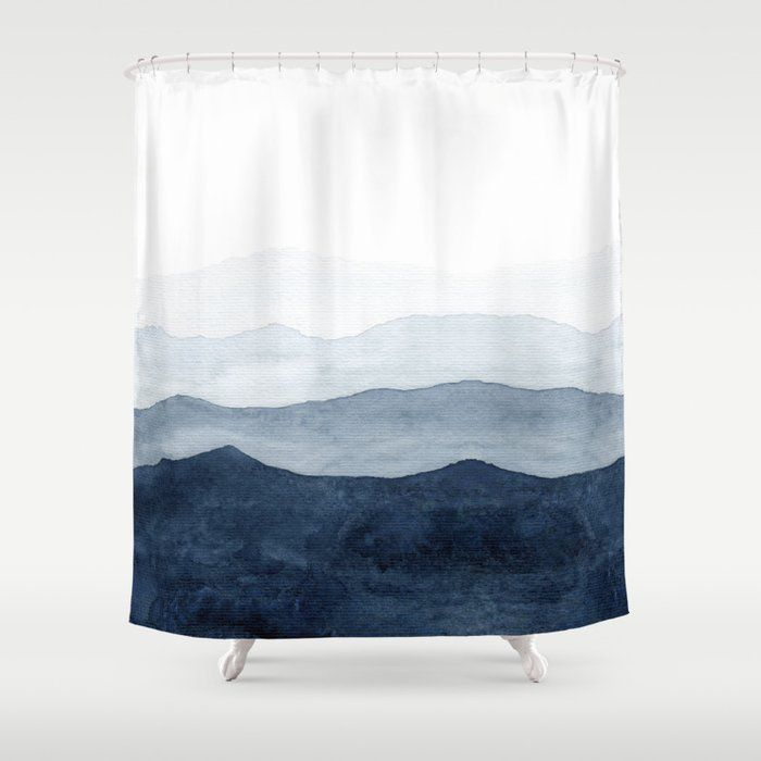 Buy Indigo Abstract Watercolor Mountains Shower Curtain By