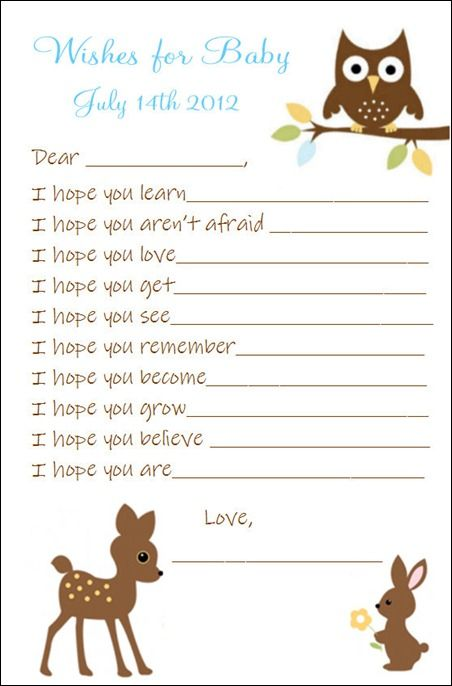 wishes for baby - nature themed----could change to jungle theme & make memory book at shower