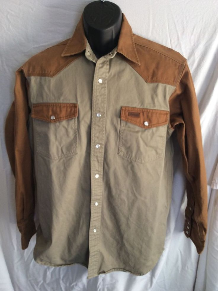Carhartt Work Shirt Size Medium Pearl Snap Solid Beige  heavy cotton #Carhartt #snapfront