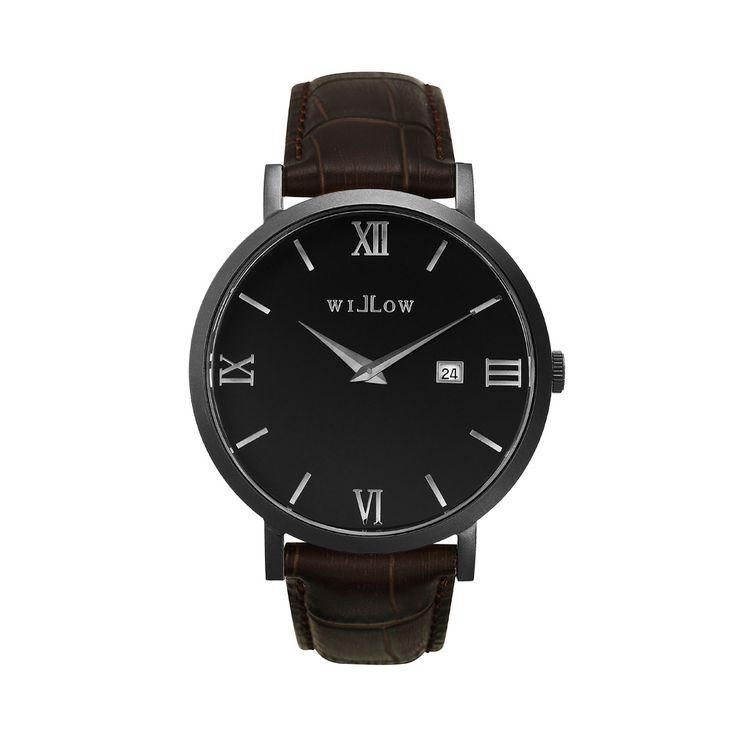 Verona Matte Black Watch & Interchangeable Dark Brown Croco Leather Strap.