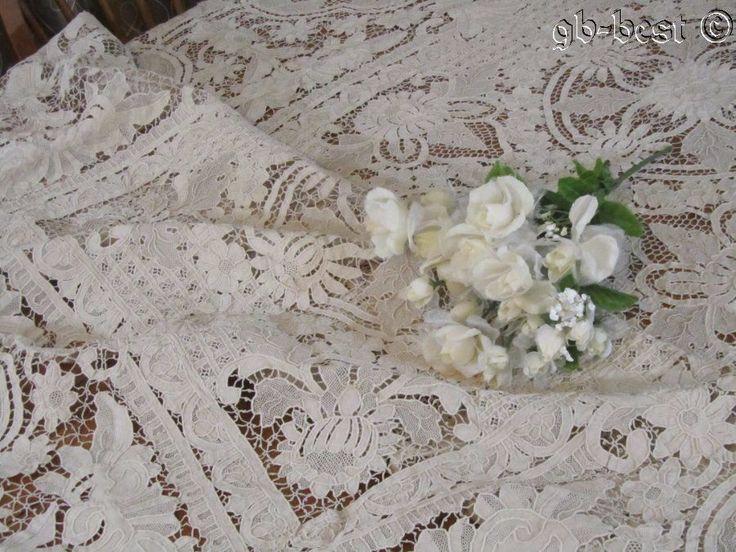 EXQUISITE Needle Lace Vintage Banquet TABLECLOTH Point De Venise 9 + Feet  ELEGA