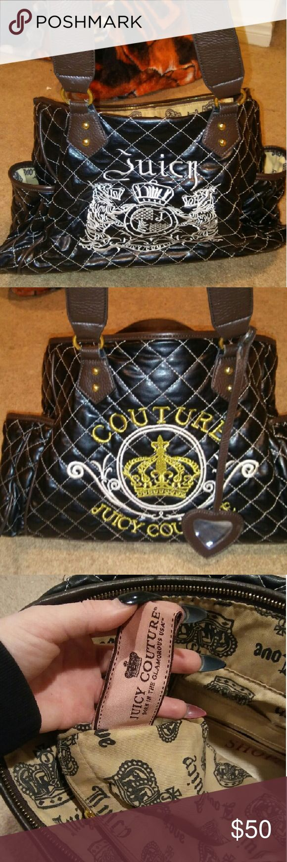 Juicy Couture Purse Brown with cute crown design and juicy name on front in gold lettering as well as the back of purse but with white lettering. Good condition Juicy Couture Bags Shoulder Bags