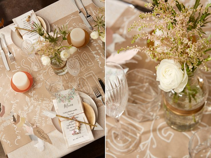 Boho inspired table setting and paper table runner | Boheemit häät, kauniit kesäjuhlat. Paperinen pöytäliina.