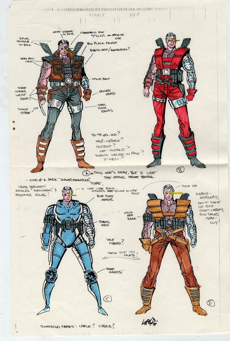 Original CABLE submission/character concept sketches w/notes 1989, Rob Liefeld. robertliefeld