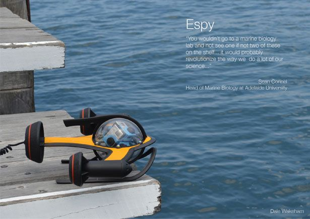 Espy 360 ROV – Underwater Spy Monitors Marine Environment In More Effective and Safer Way - A spy under the sea, this is what Espy 360 ROV (Remote Operated Vehicle) all about. It monitors marine environment through underwater observations. This concept device will revolutionize the process of underwater survey process. Designer: Dale Wakeham | via tuvie.com