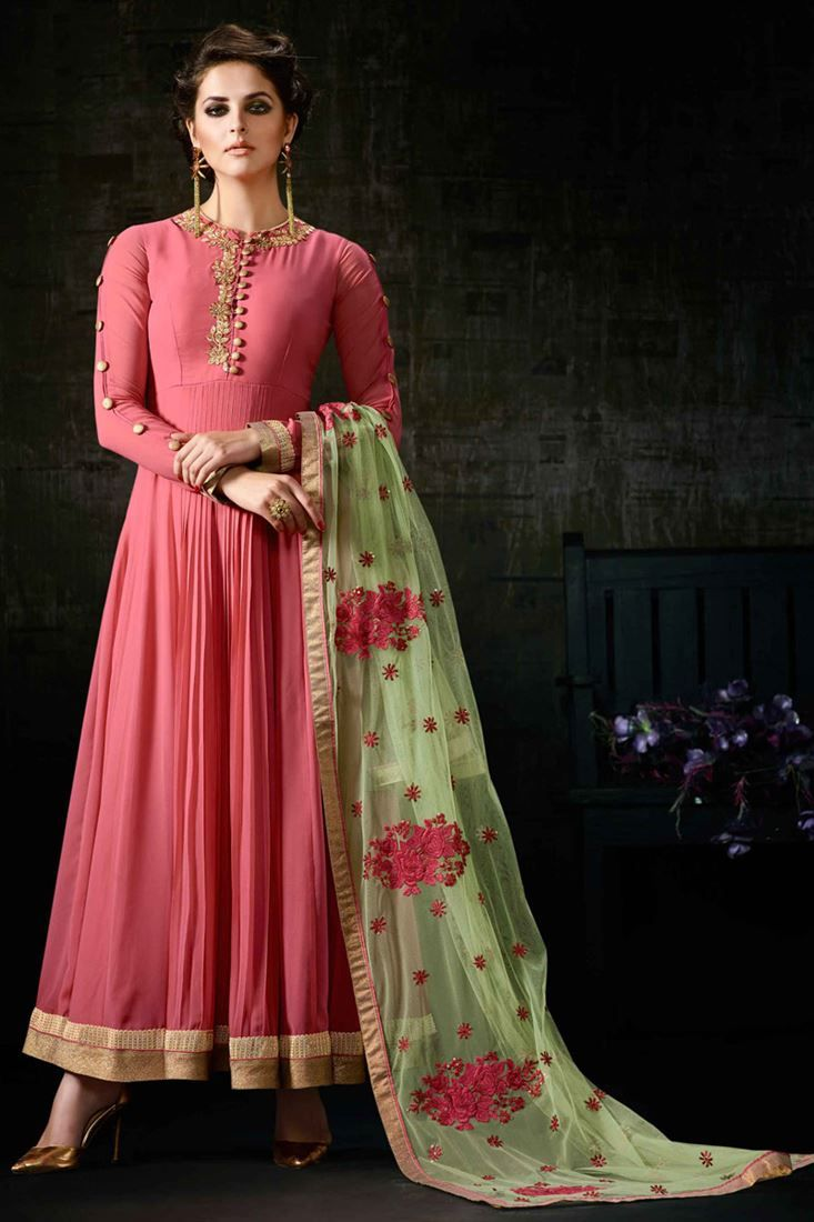 Online Shopping of Pink Color Festive Wear Embroidered Georgette Anarkali Salwar Kameez from SareesBazaar, leading online ethnic clothing store offering latest collection of sarees, salwar suits, lehengas & kurtis
