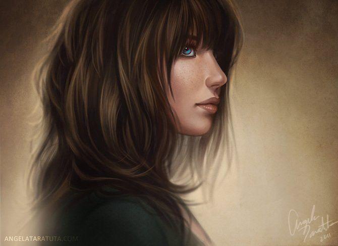 Девушка с русыми волосами арт