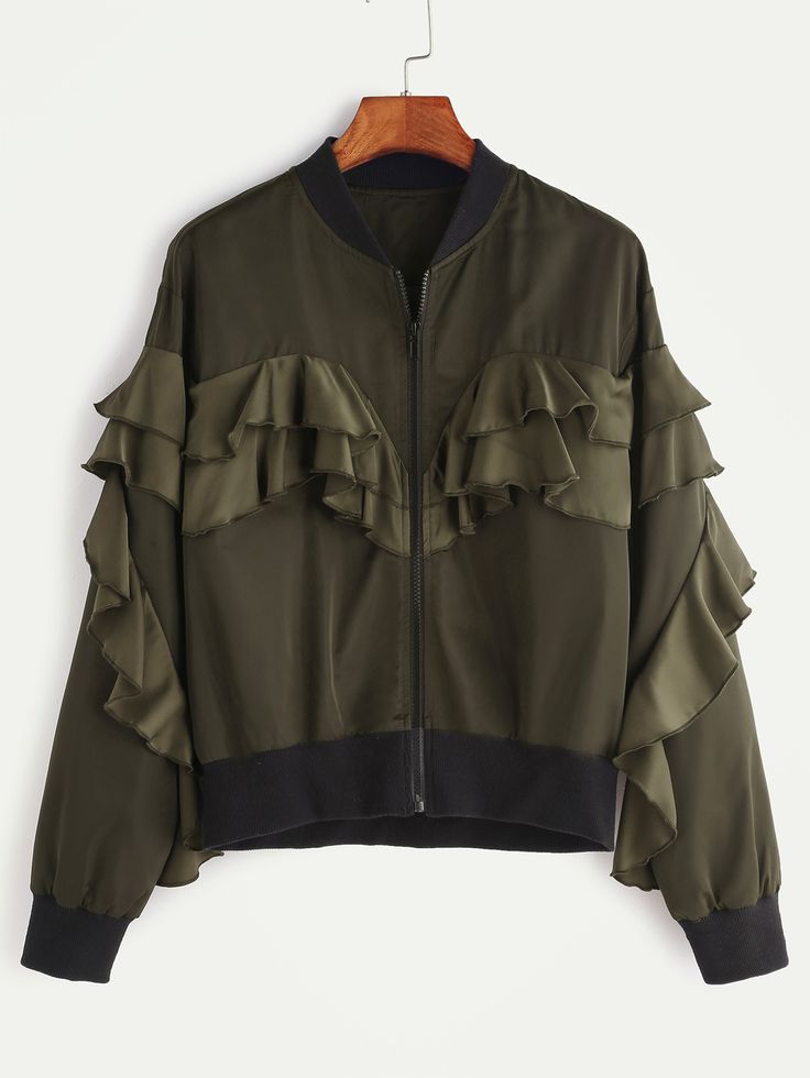 Olive Green Contrast Ribbed Trim Ruffle Bomber Jacket — 0.00 € --color: Black size: L,M,S,XS