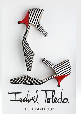 Isabel Toledo Payless Pointed Striped Kitten Heel Shoe