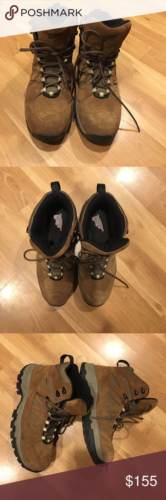 Red Wing hiking boots size 8.5 Waterproof Nubuck Brown Leather Cement Construction Steel Shank Removable EVA Footbed Oil/Slip Resistant Rubber/EVA Xplorer Sole Care : Nubuck/Suede Cleaner Kit  Size 8.5 in very good used condition. I only worn it once. They are practically new. Bin#2 Red Wing Shoes Shoes Lace Up Boots