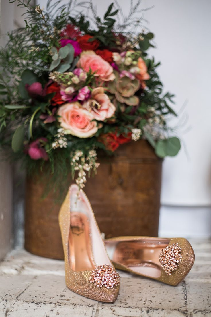 Rose Gold Ted Baker Shoes Heels Luxe Copper & Red Wedding Ideas http://www.danielle-smith-photography.com/