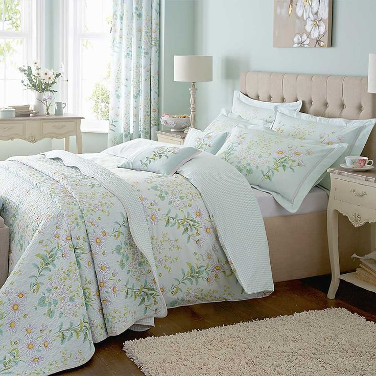 Cozy bedroom with floral duck egg blue and brown bedding for Duck egg bedroom ideas