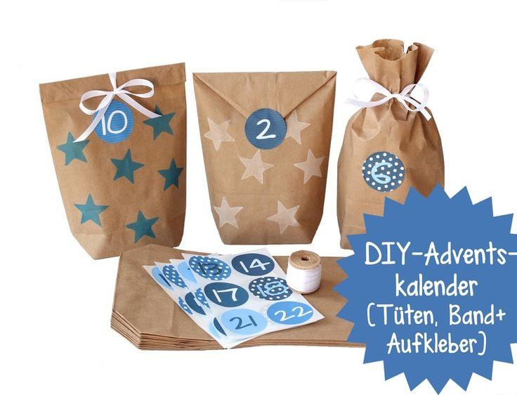 DIY-Adventskalender zum Selberfüllen - Set BLAU von Papierdrachen by Silberfädchen auf DaWanda.com