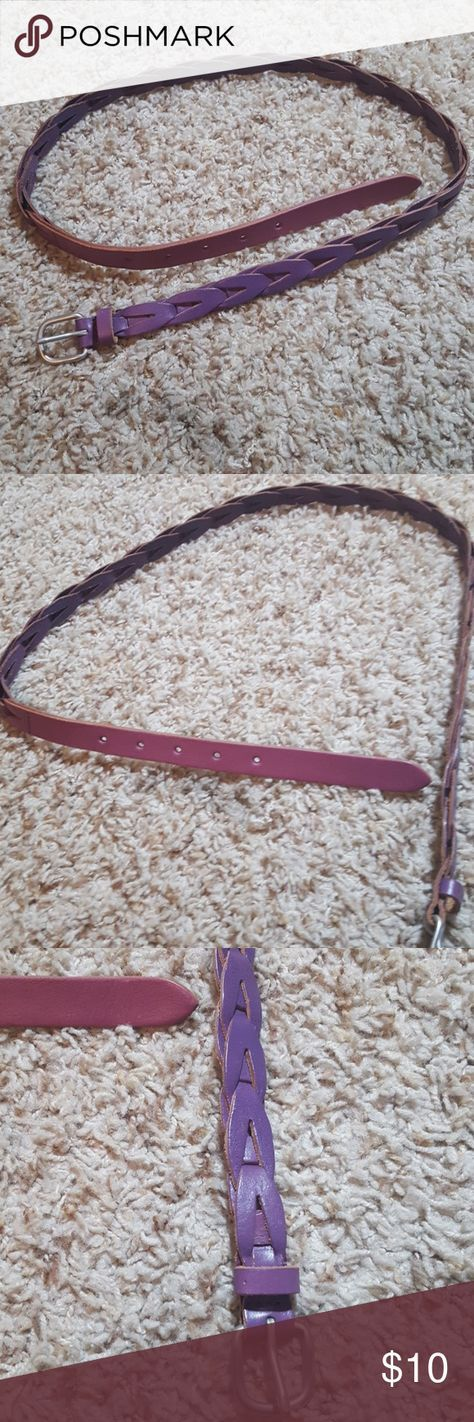 "Purple leather belt Purple leather belt measuring 40"" total... Would fit a small or x-small Accessories Belts"