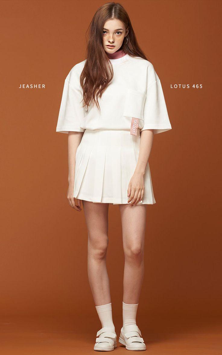 [JEASHER]ジェイアッシャー 韓国 白 ホワイト レディース メンズ 半袖 Tシャツ(ホワイト)