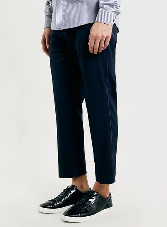 LUX NAVY SKINNY PIPED TROUSERS