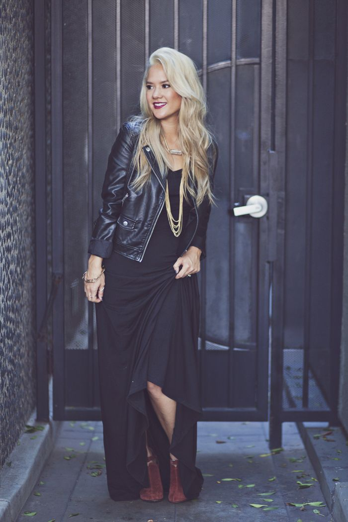 Style Roe - LuLaRoe Ana Maxi Dress with leather jacket and booties. Love this style! #lularoe