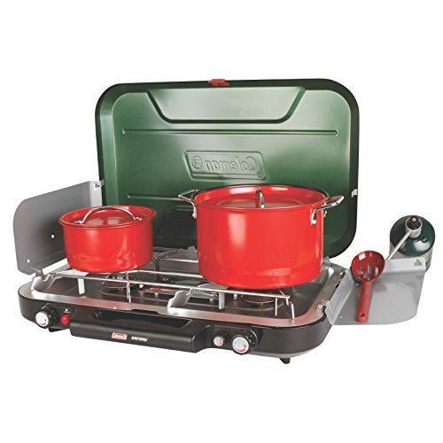 """Coleman Eventemp 3 Burner Propane Stove for camping with fire restrictions using approved gear. It is awesome because you can cook with 3 smaller pans, 2 larger pans or even 1 griddle/grill pan. When cooking things like pancakes on a cast iron griddle, there is no """"cold spot"""" in the center with this stove because the third burner is a bridge between the two standard burners. You can get a carry case too!"""