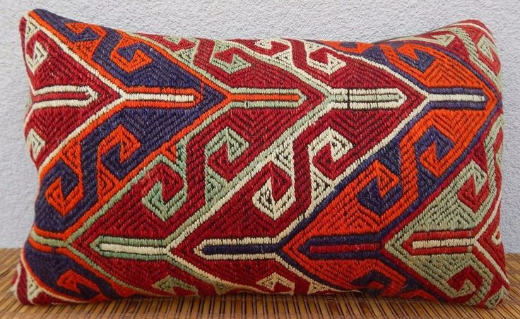12x20'' Lumbar Kilim Pillow Cover,Tribal Outdoor Bed Throw Kelim Kissen Cushion #Handmade