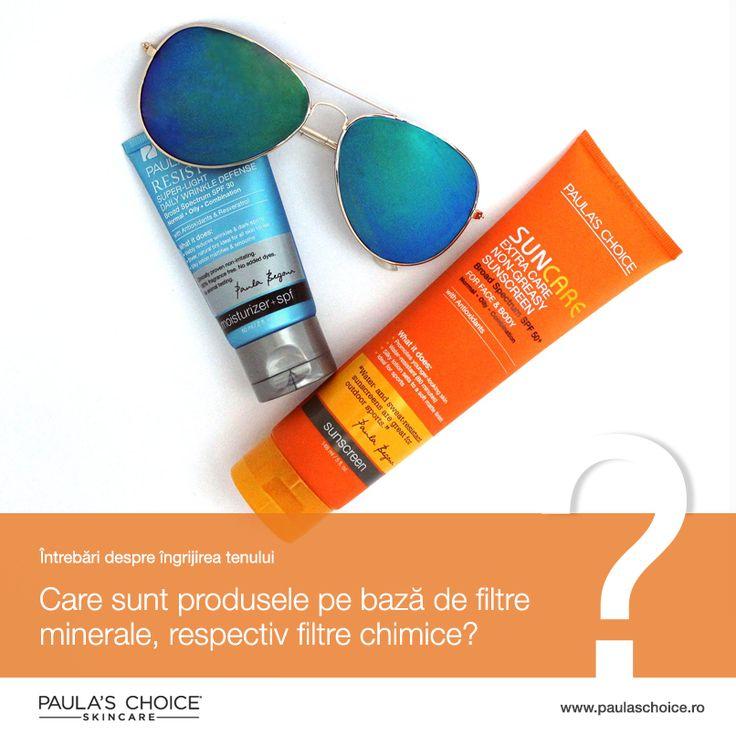 Protecție solară bazată pe filtre minerale: Resist Daily Super Light SPF 30, Resist Daily Moisturizer SPF 25, Hydralight Daily Mineral SPF 30, Skin Recovery Daily Moisturizer SPF 30, Barely There SPF 30. Filtrele minerale sunt ideale pentru tenul sensibil, cu rozacee, eczeme, iritații și sunt potrivite chiar și pentru a proteja bebelușii de radiațiile solare.  Pot bloca porii. Dacă ai rozacee, acest tip de SPF este perfect, încearcă mostre și observă dacă îți blocheaza sau nu porii.