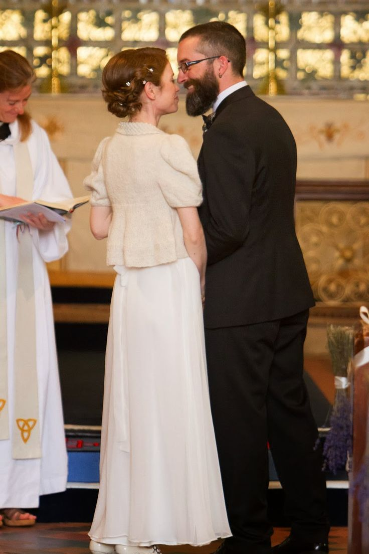Beautiful back details of Lizzie's wedding outfit; Beauty Cardigan by Purl Alpaca Designs.
