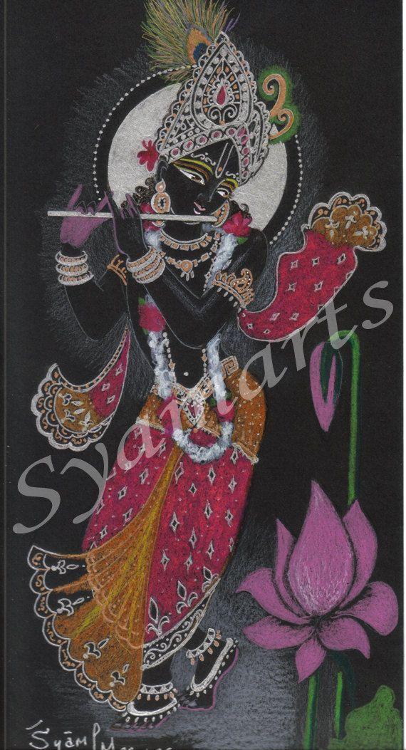 Originalzeichnung, moderner Wandkunst, schwarz, Silber, hot pink, indische Kunst, vedischen Tempel Meditation Krishna Gottheit syamarts