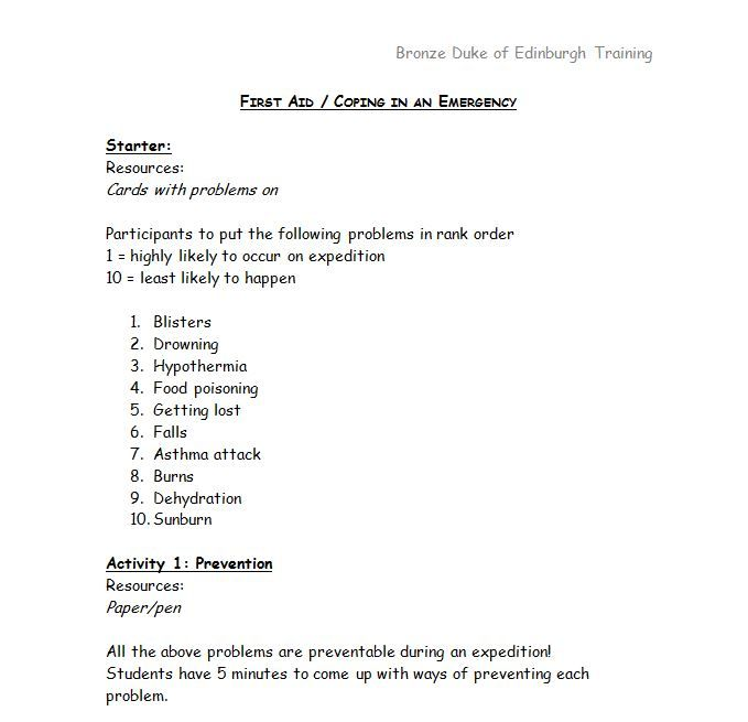 Lesson plan for training session aimed at students training for Bronze Duke of Edinburgh expeditions.(LY)