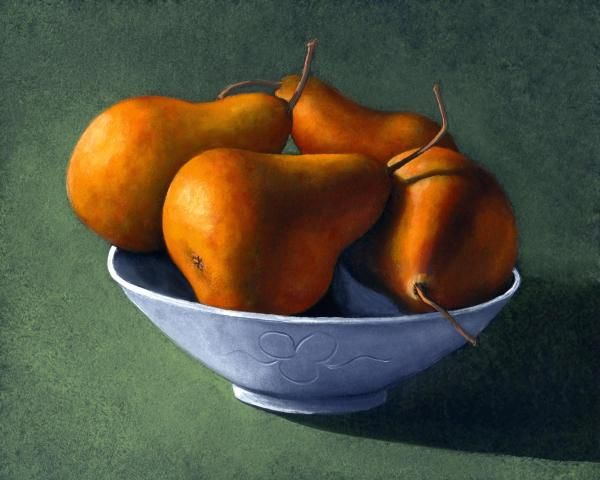 """""""PEARS IN BLUE BOWL"""" is a 16 x 20 inch original oil painting on a hardboard panel. This painting has sold.  Museum Quality Prints are available in eight sizes on your choice of two canvases, five canvas wraps, seven different papers, 1/4 inch acrylic and even on 1/16 inch polished metal!  5 x 7 inch greeting cards are also available."""