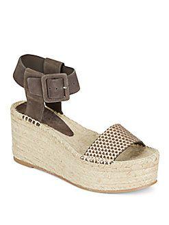 Vince - Abby Suede & Metallic Leather Espadrille Platform Wedge Sandals